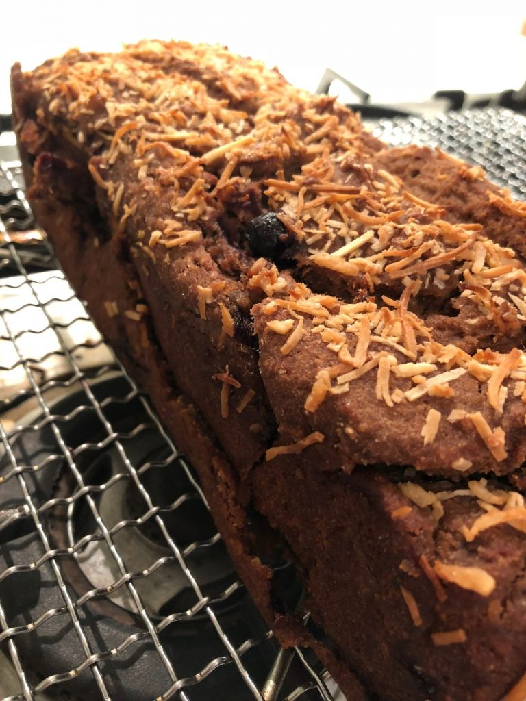 Carob Banana Bread with Blueberries and Coconut - Australian Carobs