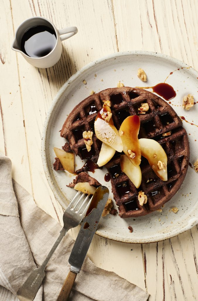 Best Carob Waffles, Almond and Carob Waffles with Poached Pears Carob Recipes | Australian Carobs