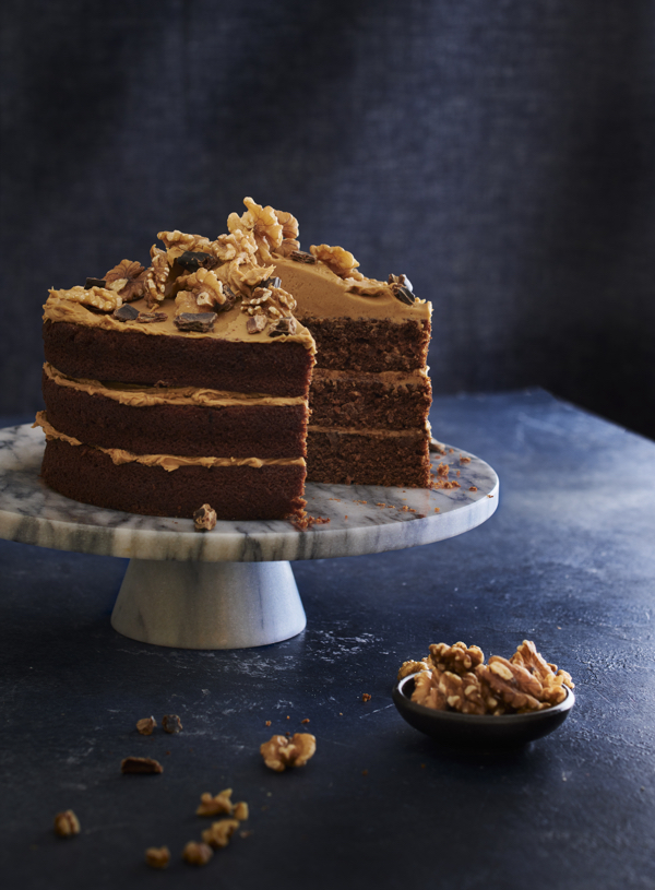 Carob and Coffee Fudge Cake