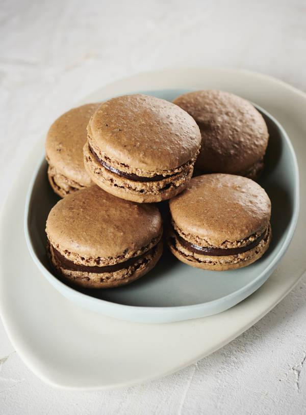 Carob, Vanilla and Hazelnut Macarons