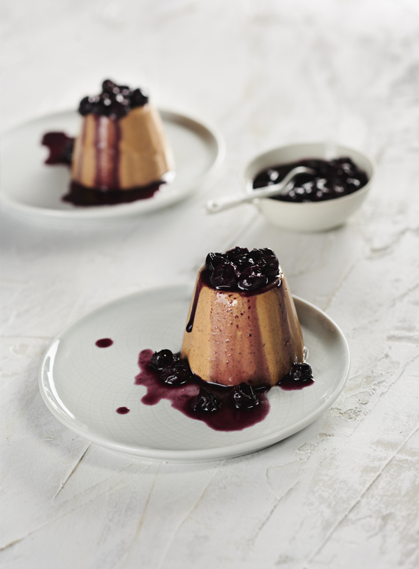 Chai Carob Panna Cotta with Blueberry Compote