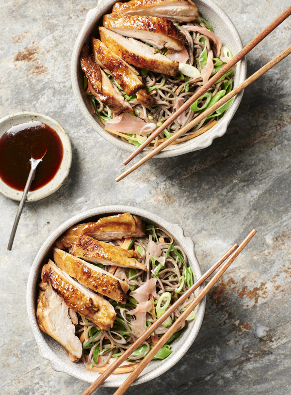 Ginger and Carob Teriyaki Chicken with Soba Noodle Salad