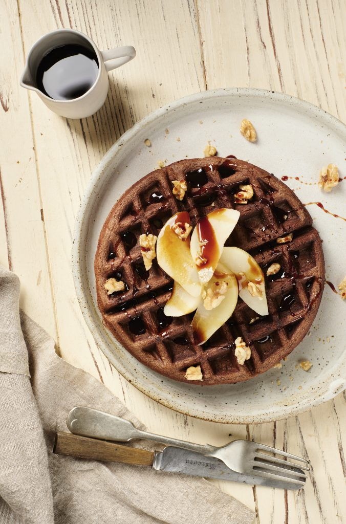 Carob Waffles, Almond and Carob Waffles with Poached Pears, Best Carob Recipes | Australian Carobs