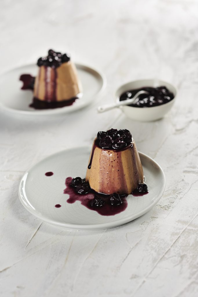 Best Carob Recipes, Chai Carob Panna Cotta with Blueberry Compote | Australian Carobs